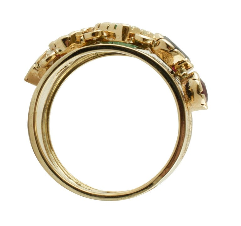 Diamonds, Sapphires, Rubies, Emeralds, 14 Karat Yellow Gold Band Ring In Good Condition For Sale In Marcianise, Caserta