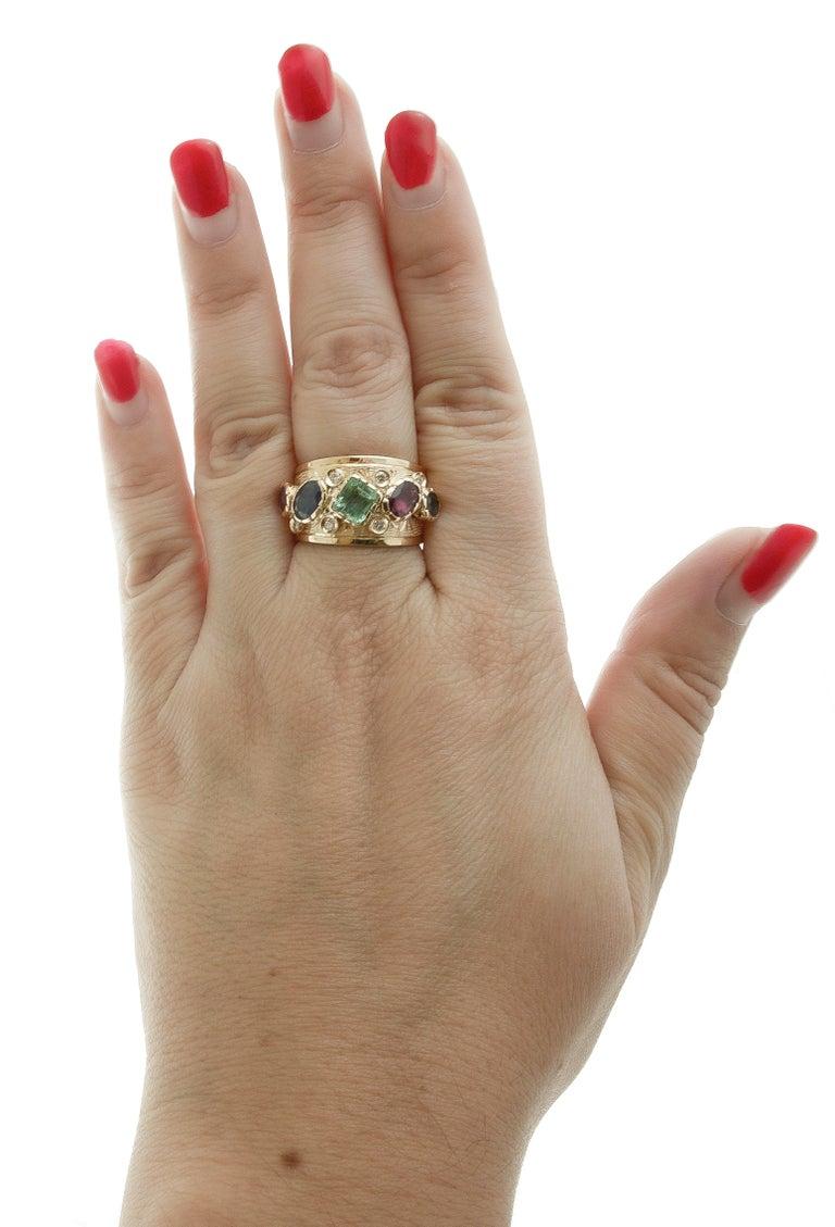 Diamonds, Sapphires, Rubies, Emeralds, 14 Karat Yellow Gold Band Ring For Sale 1