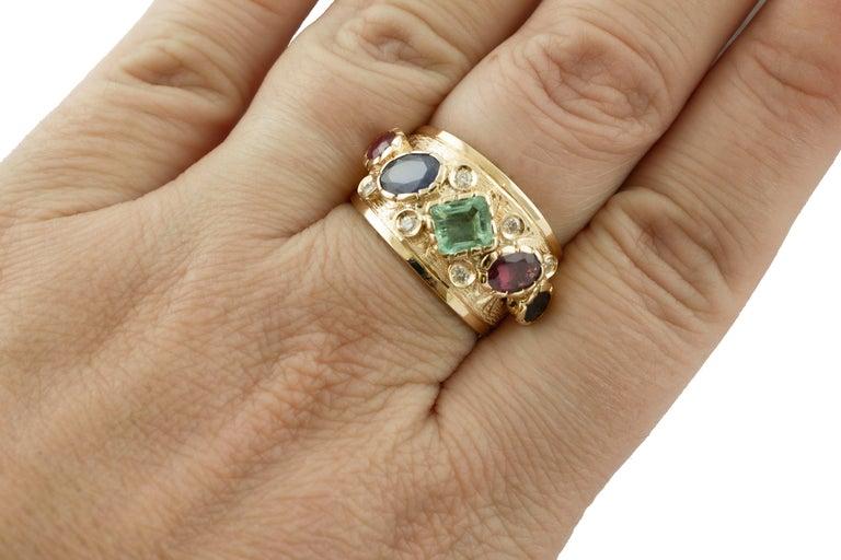 Diamonds, Sapphires, Rubies, Emeralds, 14 Karat Yellow Gold Band Ring For Sale 2