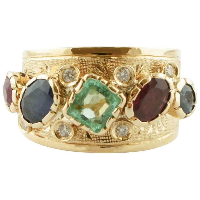 Diamonds, Sapphires, Rubies, Emeralds, 14 Karat Yellow Gold Band Ring For Sale