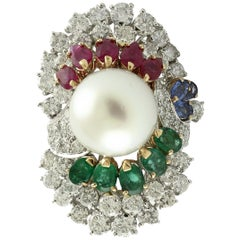Diamonds Sapphires Rubies Emeralds Pearl White Gold Ring