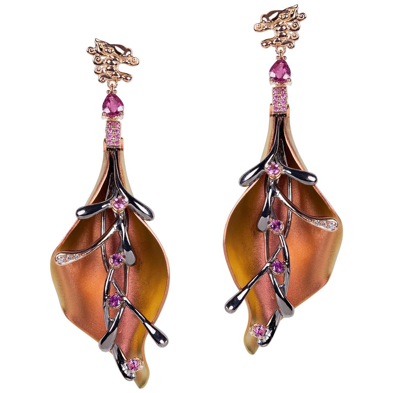 Diamonds Sapphires Ruby 18 Karat Gold Sterling Silver Titanium Earrings