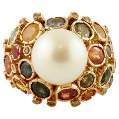Diamonds, Sapphires, South Sea Pearl, 14 Karat Yellow Gold Vintage Ring