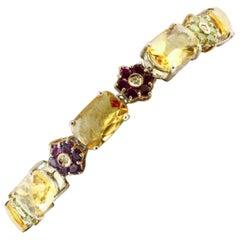 Diamonds, Sapphires, Topaz, Amethyst, Garnet, Peridot, 14 Karat Gold Bracelet