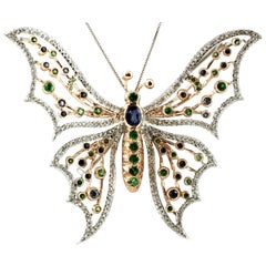 Diamonds, Sapphires, Tsavorite, 14 Kt White Yellow Gold Butterfly Brooch Pendant