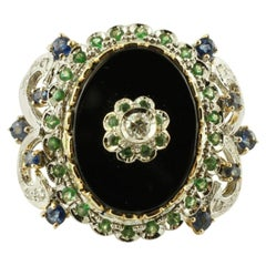 Diamonds, Sapphires, Tsavorite, Onyx, 14 Karat White and Rose Gold Vintage Ring