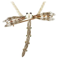 Diamonds, Sapphires, Tsavorite, Pearl, Gold and Silver Dragonfly Brooch/Pendant