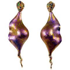 Diamonds Sapphires Tsavorites 18 Karat Gold Timascus Earrings