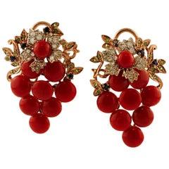 Diamonds, Sapphires, Tsavorites, Cluster-Shaped 9 Karat Gold and Silver Earrings