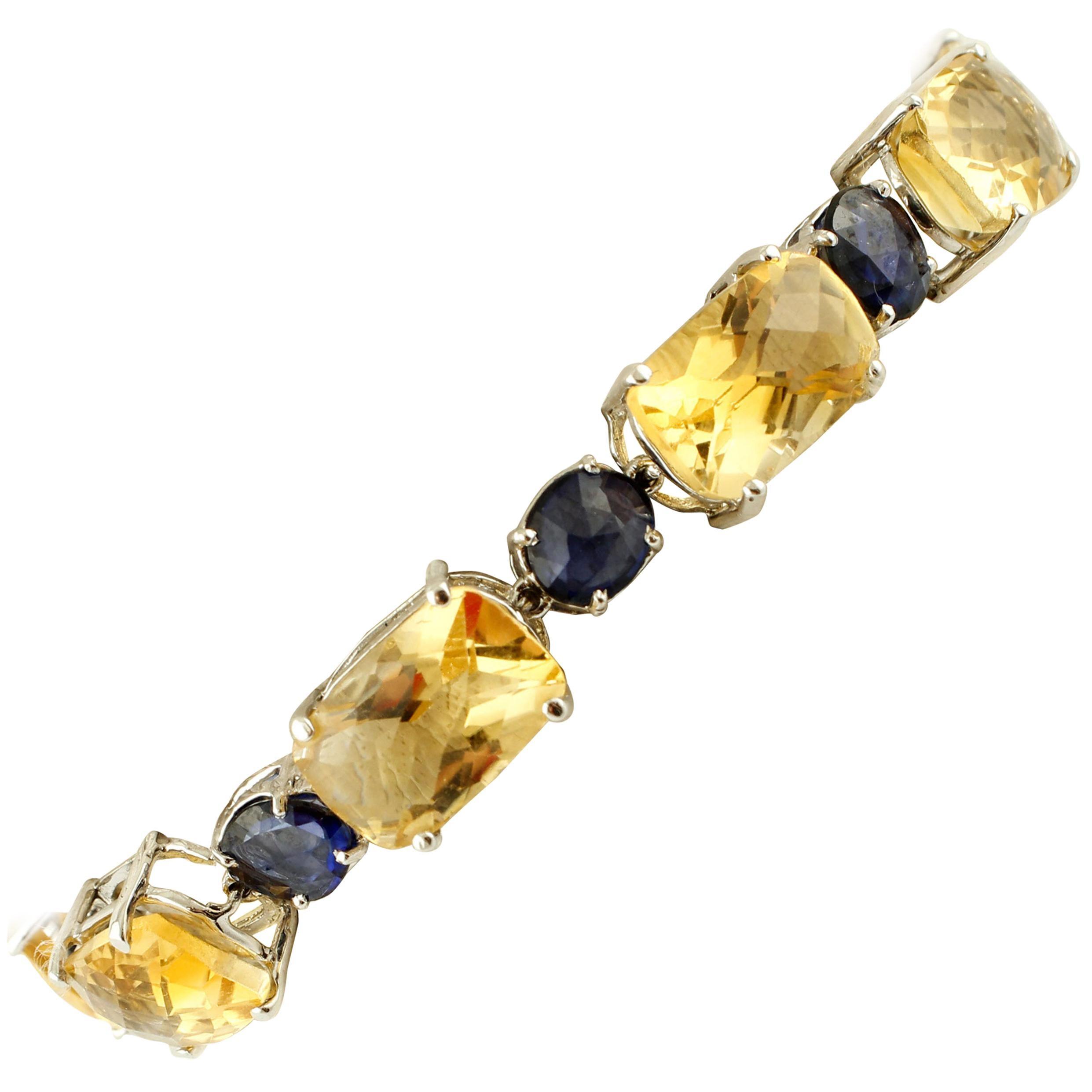 Diamonds, Sapphires, Yellow Topaz, 14 Karat White Gold Bracelet