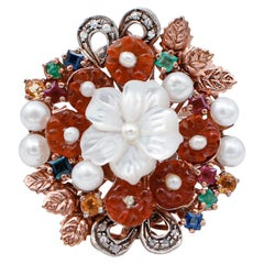 Diamonds, Sapphires,Rubies,Emeralds,Stones,Pearls, 9kt Rose Gold and Silver Ring