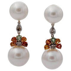 Diamonds, Sapphires, South Sea Pearls, 14 Karat White and Yellow Gold Earrings