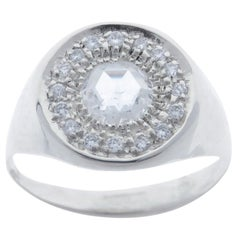 Diamonds Signet White Gold Ring Handcrafted in Italy by Botta Gioielli