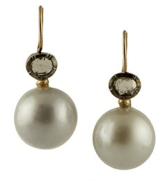 Diamonds, South Sea Pearl, 9 Karat Rose Gold and Silver Dangle Earrings