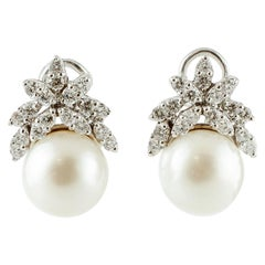 Diamonds, South Sea Pearls, 18 Karat White Gold Earrings