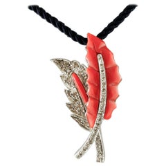 Diamonds, Red Coral, 14 Karat White Gold Two Leaves Shape Pendant Necklace