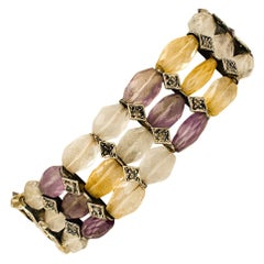 Diamonds, Stones, 9 Karat Rose Gold and Silver Bracelet