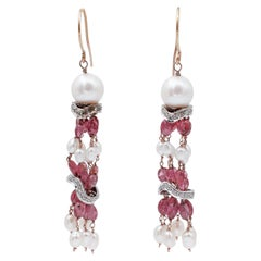 Diamonds, Stones, Pearls, 14 Karat Rose and White Gold Dangle Earrings