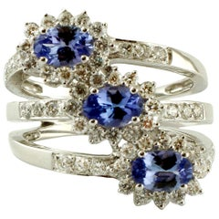 Diamonds, Tanzanite, 18 Karat White Gold Ring