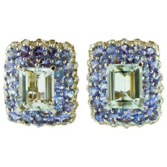 Diamonds, Tanzanite, Aquamarine, 14 Karat White Gold Clip-On Earrings