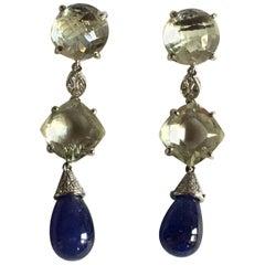 Diamonds Tanzanite Drop Quartz 18 Karat White Gold Earrings