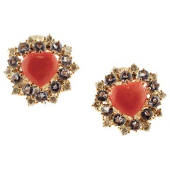 Diamonds, Tanzanite, Heart Shape Red Coral, Rose Gold Clip-On Earrings