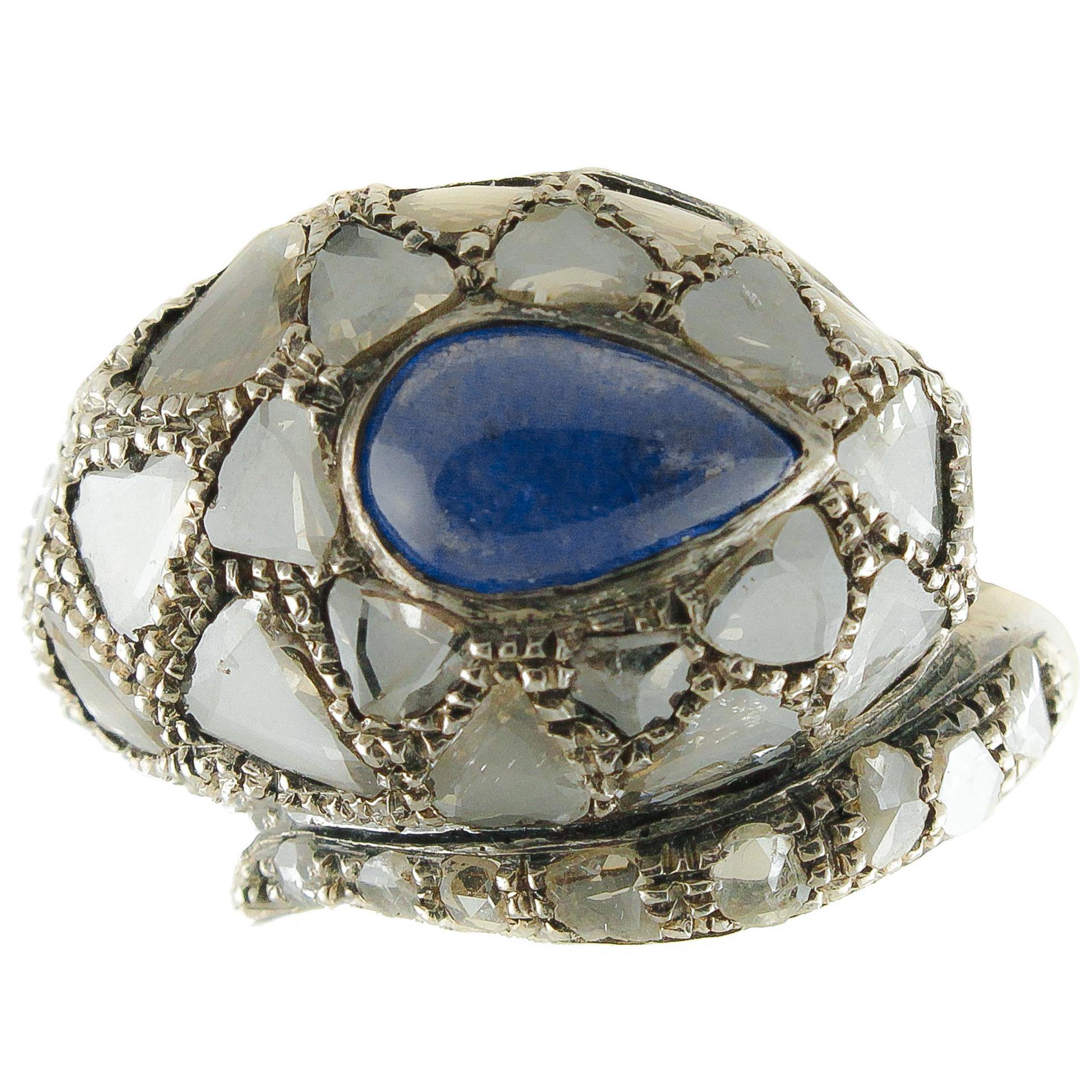 Diamonds Tanzanite Rose Gold and Silver Snake Fashion Ring