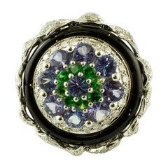 Diamonds, Tanzanite, Tsavorite, Onyx, White gold, Vintage Ring