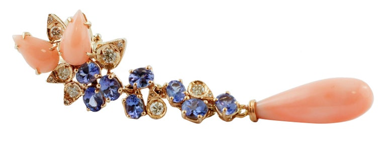 Retro Diamonds, Tanzanites, Angel Skin Pink Coral Drops, Rose Gold Clip-on Earrings For Sale