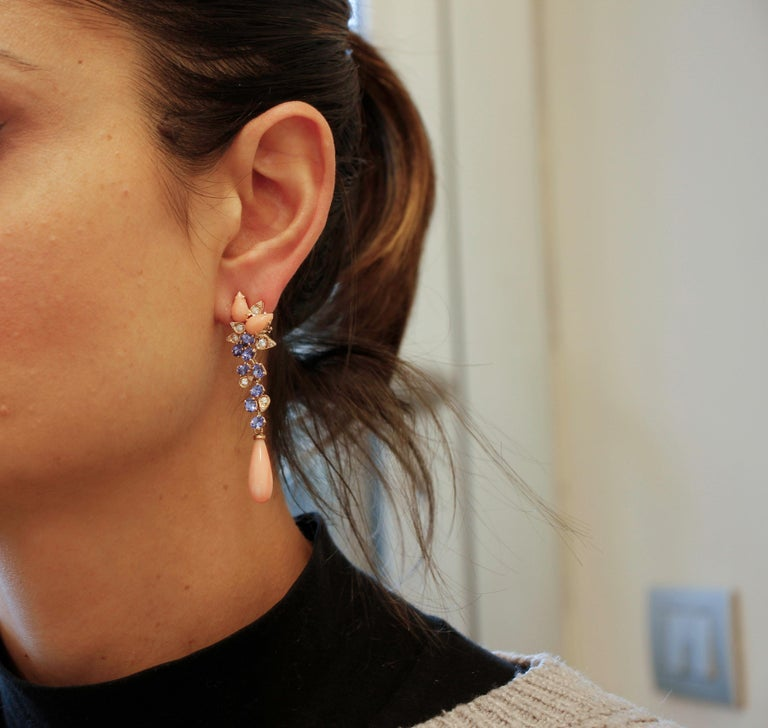 Women's Diamonds, Tanzanites, Angel Skin Pink Coral Drops, Rose Gold Clip-on Earrings For Sale