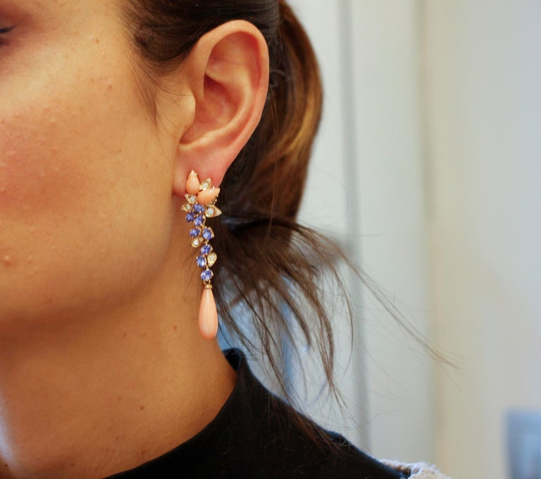 Diamonds, Tanzanites, Angel Skin Pink Coral Drops, Rose Gold Clip-on Earrings For Sale 1