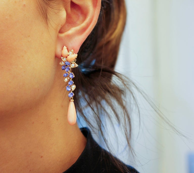 Diamonds, Tanzanites, Angel Skin Pink Coral Drops, Rose Gold Clip-on Earrings For Sale 2