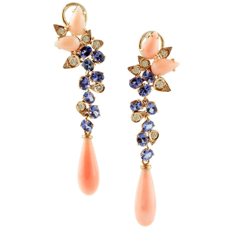 Diamonds, Tanzanites, Angel Skin Pink Coral Drops, Rose Gold Clip-on Earrings For Sale