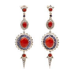 Diamonds, Tanzanites, Coral, Rose Gold and Silver Dangle Earrings