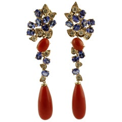 Diamonds, Tanzanites, Red Coral, 14 Karat Rose Gold Earrings
