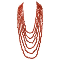 Diamonds, Topaz, Coral, Pearls, 9 Karat Gold and Silver Multi-Strands Necklace