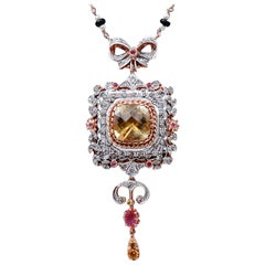Diamonds, Topaz, Rubies, Onyx, Pearls, 9kt Rose Gold and Silver Retrò Necklace