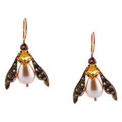 Diamonds, Topaz, Rubies, Pearls, 9 Karat Rose Gold and Silver Retrò Earrings
