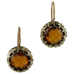 Diamonds, Topazes, 9 Karat Rose Gold and Silver Retro Dangle Earrings