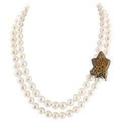 Diamonds Topazes Pearls White Rose Gold and Silver Beaded Necklace