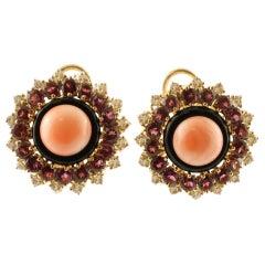 Diamonds, Tourmaline, Onyx, Pink Coral 14 Karat Rose Gold Clip-On Retrò Earrings