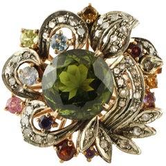 Diamonds Tourmalines Topazes Amethysts Garnets Peridot Rose Gold Silver Ring