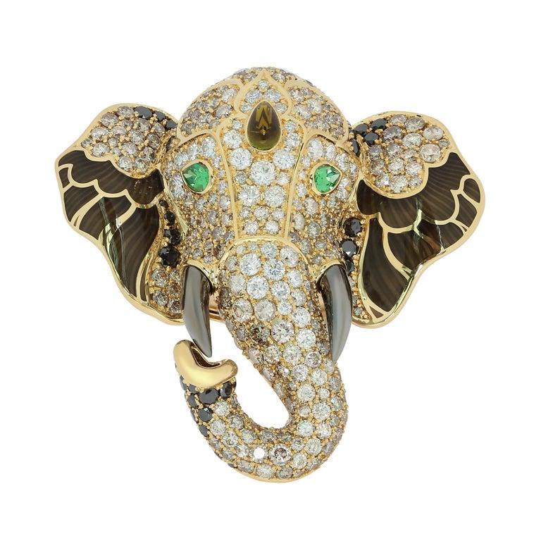 Diamonds Tsavorite Tourmaline Enamel 18 Karat Yellow Gold Elephant Ring For Sale