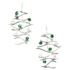 Diamonds Tsavorites 18 Karat White Gold Drop Earrings Handcrafted in Italy