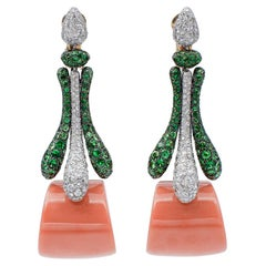 Diamonds, Tsavorites, Coral, 18 Karat White and Yellow Gold Dangle Earrings