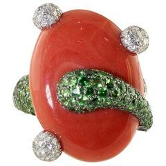 Diamonds Tsavorites Coral Yellow and White Gold  Ring