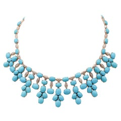 Diamonds, Turquoise, 14 Karat Rose Gold Necklace