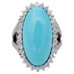 Diamonds, Turquoise, 14 Karat White Gold Ring