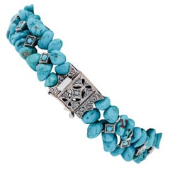 Diamonds, Turquoise, 9 Karat Rose Gold and Silver Bracelet