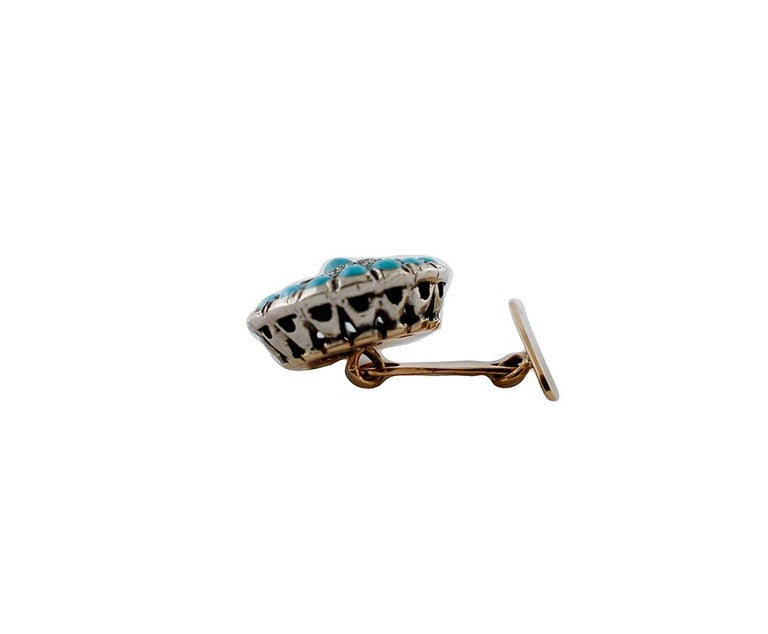 Retro Diamonds, Turquoise, 9 Karat Rose Gold and Silver Cufflinks For Sale